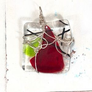 Dichroic Glass Pendent Red Green & Black
